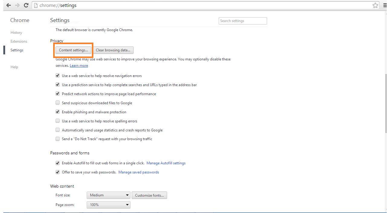 Browser Settings Help